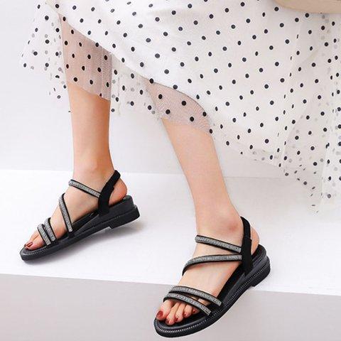 Artificial Leather Block Heel Rhinestone Sandals