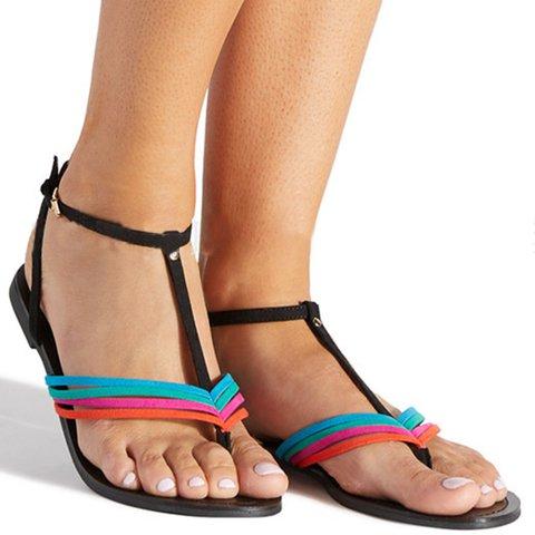 Adjustable Buckle T-Strap Summer Thong Sandals