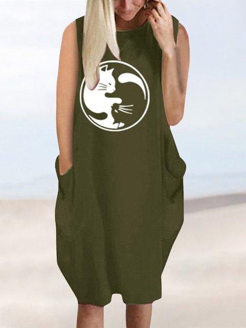 Sleeveless Mini Dress Women Summer Printed Dresses