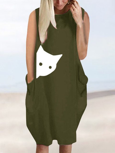 Sleeveless Mini Dress Plus Size Pockets Crew Neck Dresses