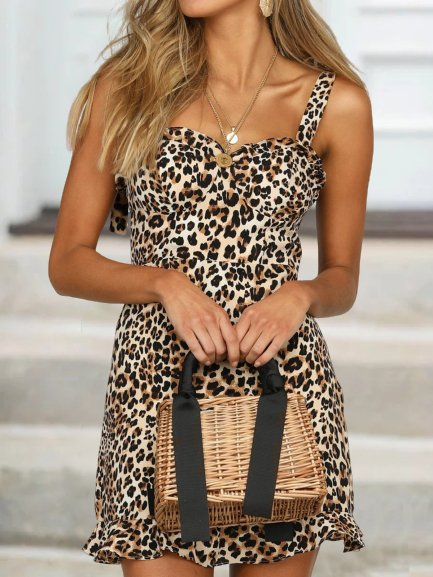 Vintage Leopard Printed Plus Size Sleeveless Casual Dresses