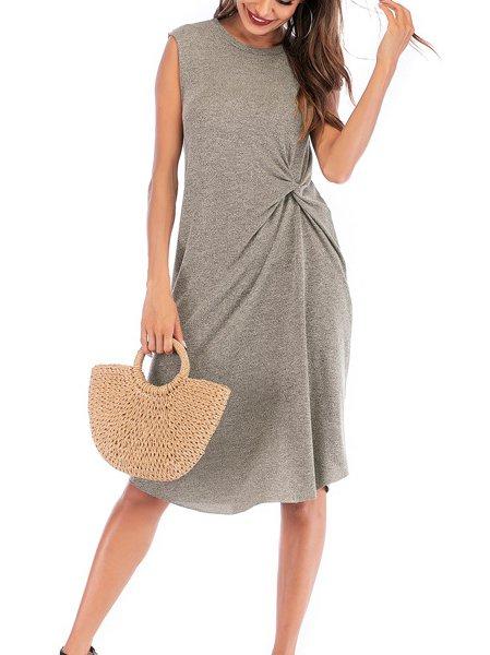 Sleeveless Cotton Simple & Basic Dresses