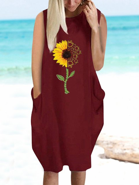 Floral Sleeveless Mini Dress Plus Size Summer Dresses