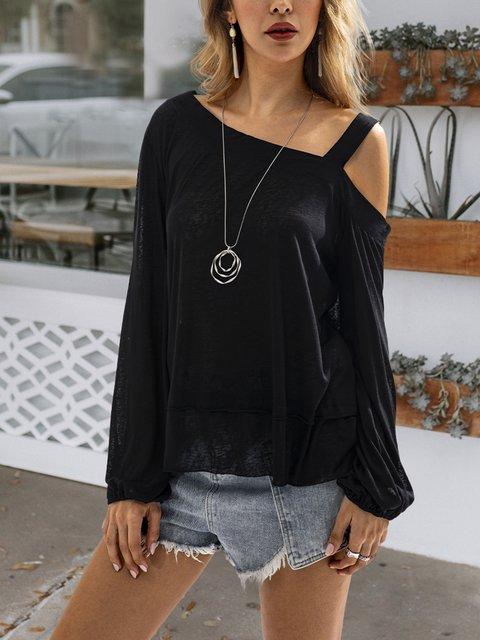 Black Long Sleeve Cotton Shirts & Tops