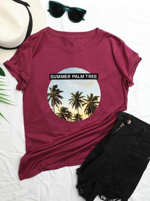 Plus Size Women Beach Pattern Casual T-Shirts