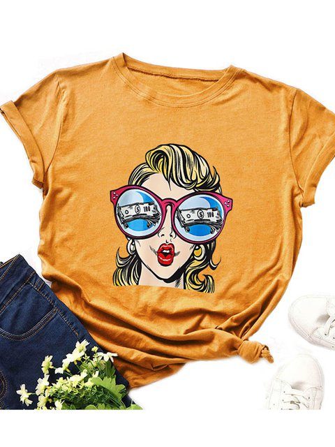 Women Plus Size Summer Abstract Print Casual T-Shirts