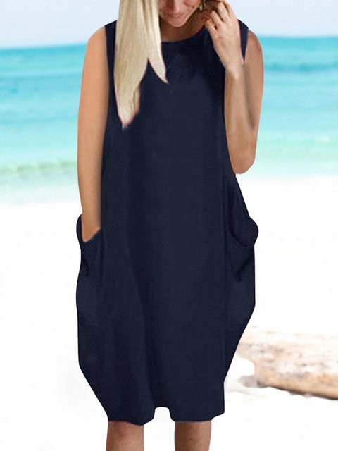 Solid Sleeveless Mini Dress Plus Size Crew Neck Summer Dresses