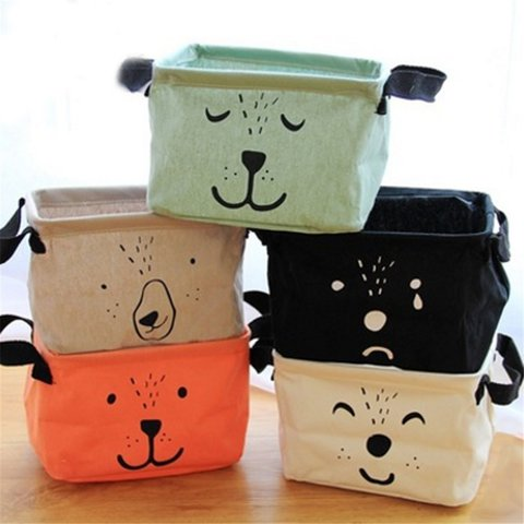 Practical Household Cotton Fabric Foldable Storage Bin Basket Closet Toy Box Container Organizer