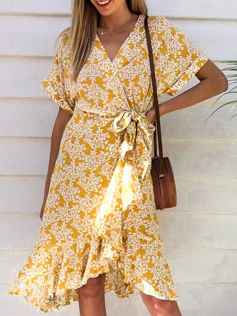 Floral Elegant Short Sleeve Ruffled Wrap Dresses