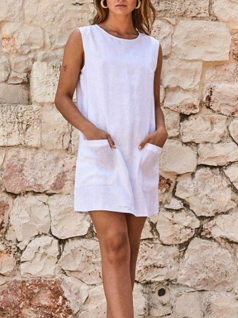 Cotton Linen Crew Neck Pockets Casual Dresses