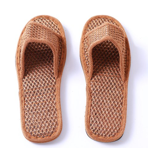 Brown Mesh Wicking Flat Heel Natural Summer Slippers