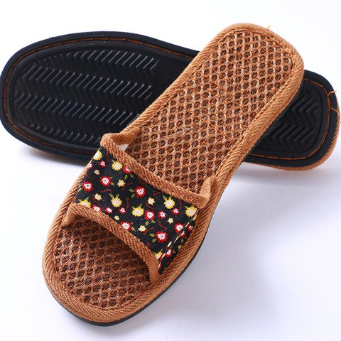 Floral Print Open Toe Slide Sandals Flat Heel Women Wicking Slippers