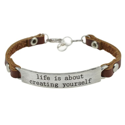 Alloy engraved letter simple leather bracelet