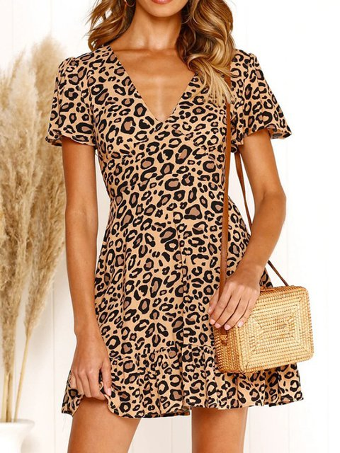 Sexy V-neck High Waist Leopard Print Dress