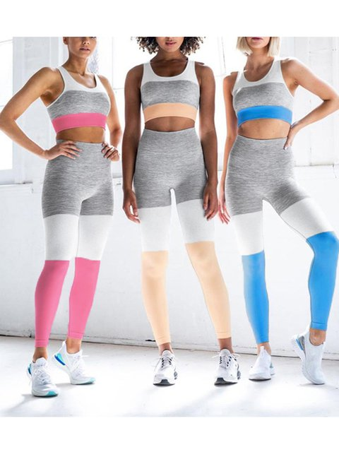 Seamless Knit Color Block Yoga Sportwear Set