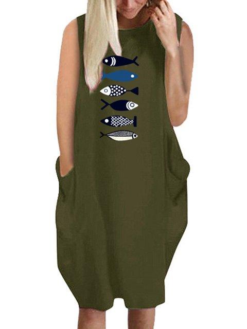 Sleeveless Mini Dress Plus Size Crew Neck Dresses