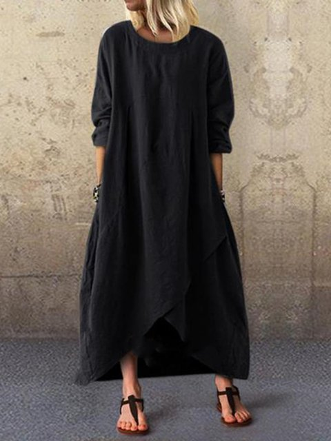 Crew Neck Casual A-Line Cotton Dresses
