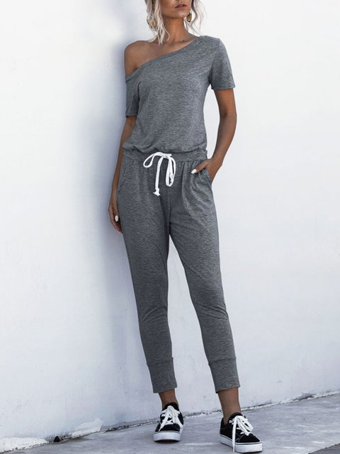 Pockets Drawstring Shift Casual Jumpsuit