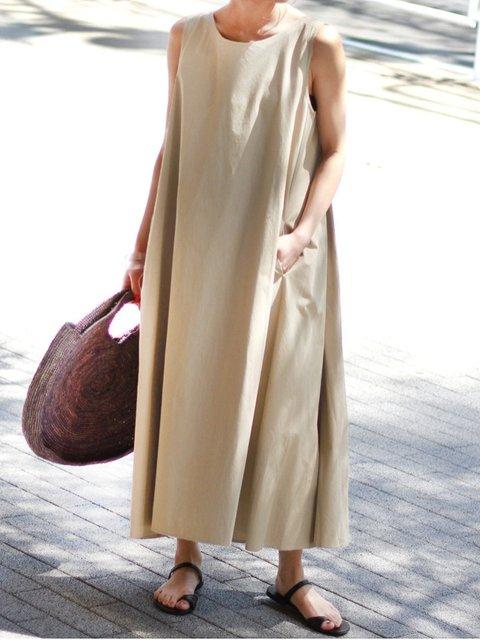 Cotton Sleeveless Crew Neck A-Line Dresses