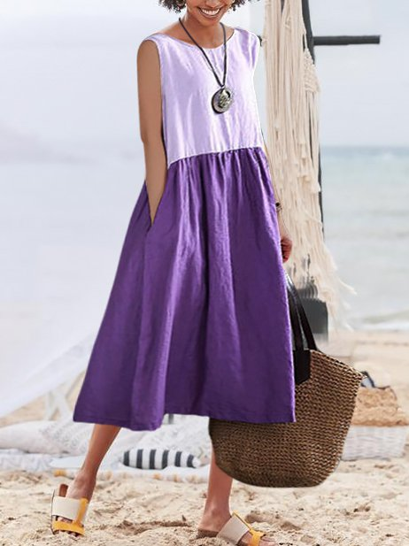 Purple Swing Solid Holiday Crew Neck Dresses