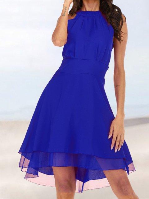 Solid Sleeveless Midi Dress Plus Size Crew Neck Dresses