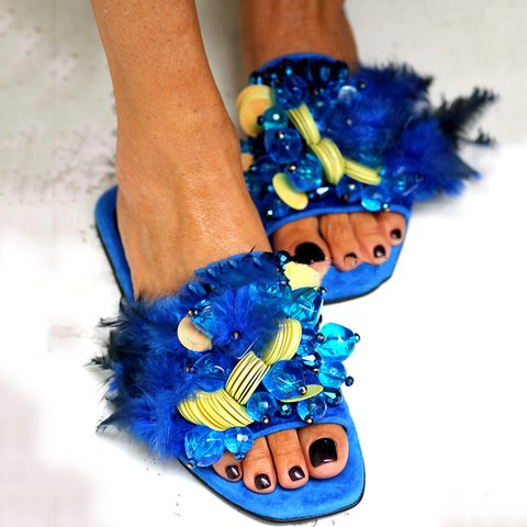 Blue Plus Size Feather Flat Heel Beading Summer Slippers