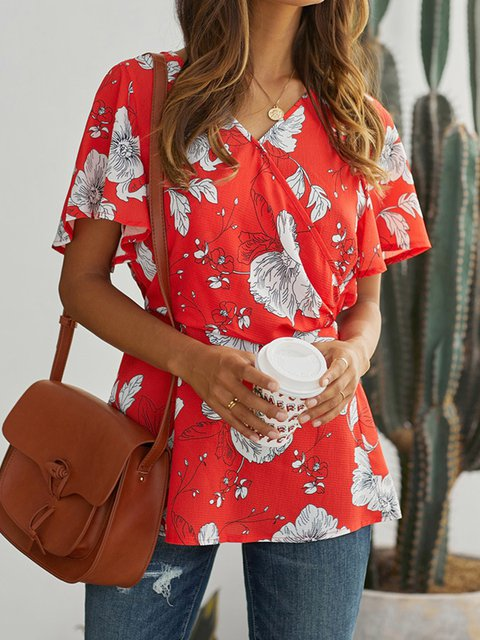 Casual Plus Szie V Neck Holiday Floral Blouse Shirts Tops