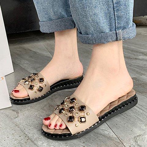 Women Open Toe Pu Daily Rhinestone Flat Heel Slippers