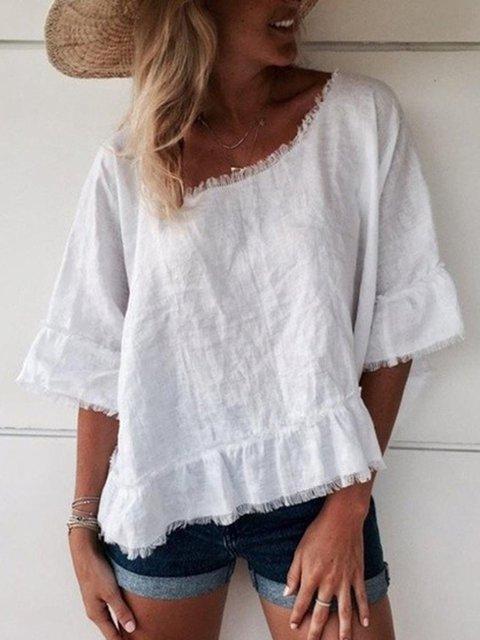 Half Sleeve Cotton-Blend Shirts & Tops