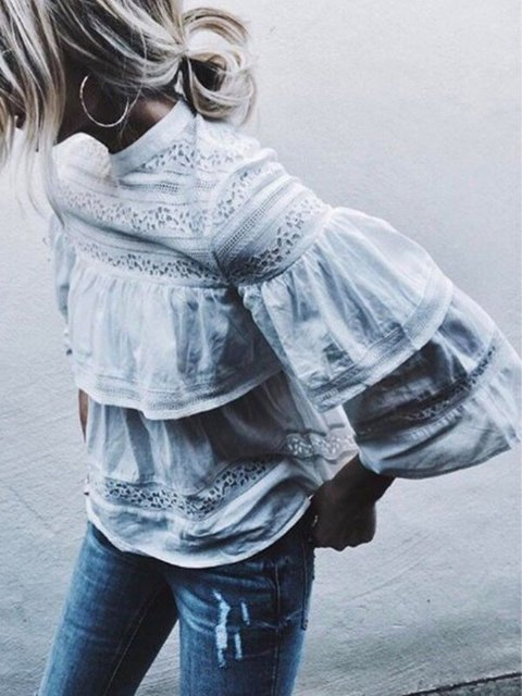 White Paneled Frill Sleeve Shirts & Tops