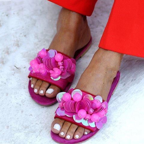 Flat Heel Beading Slides Pu Sequin Open Toe Slippers