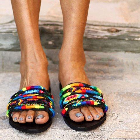Multicolor Flat Heel Slide Sandals Open Toe Fashion Summer Slippers
