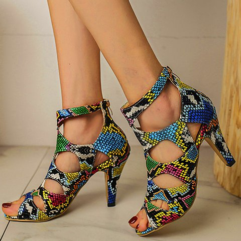 Peep Toe Artificial Leather Zipper Sandals Cut Out Heels