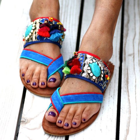 Blue Low Heel Flip-flops Tassel Slip-On Sandals