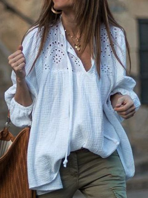 White Casual V Neck Hollowed Shirts & Tops