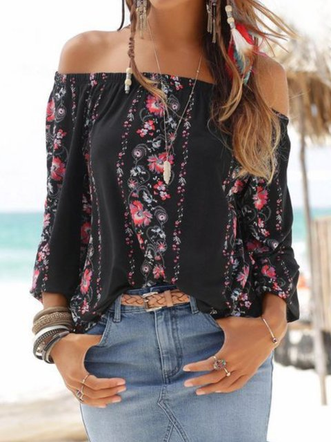 Casual Off Shoulder Floral Shirts & Tops