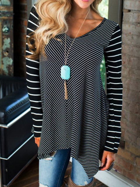 Striped Casual Asymmetrical Shirts & Tops