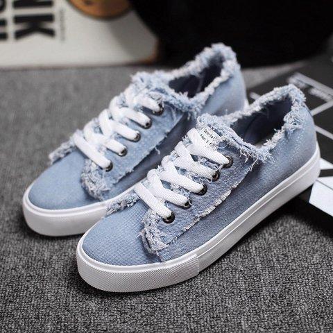 Lace-Up Flat Heel Denim Women Sneakers