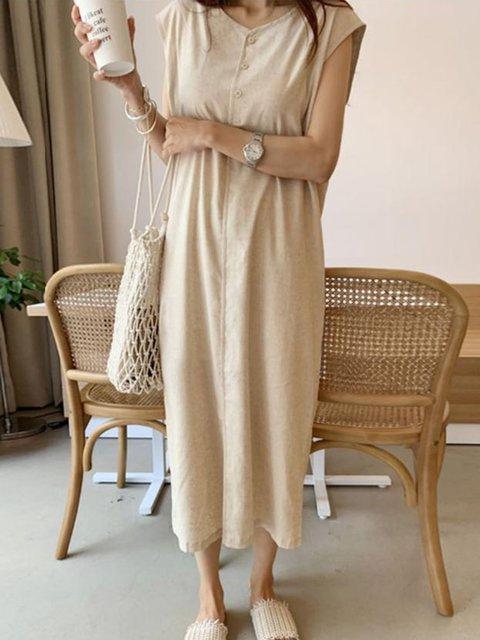 Cotton Casual Sleeveless Round Neck Drawstring Dresses