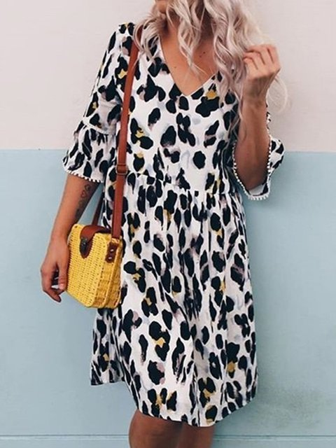 Leopard V Neck Cotton-Blend 3/4 Sleeve Dresses