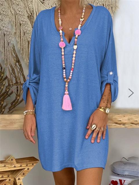 Solid V Neck Cotton-Blend Casual Dresses