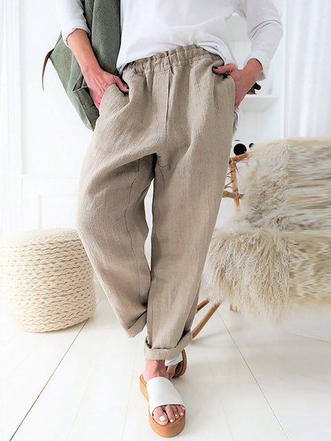 Cotton Simple Comfort Side Pockets Pants