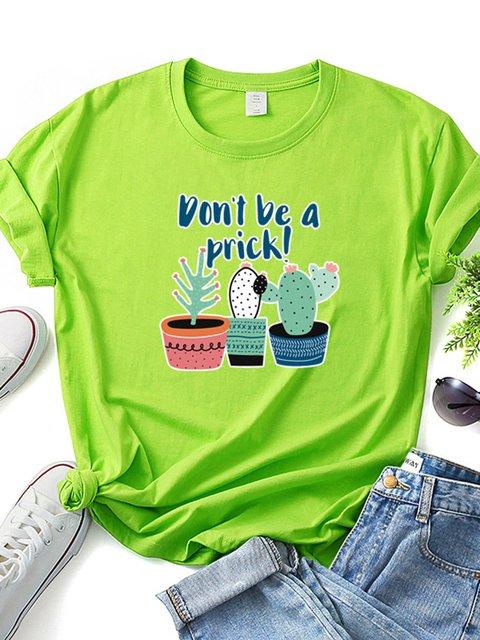 Women Cactus Print Summer Casual T-Shirts