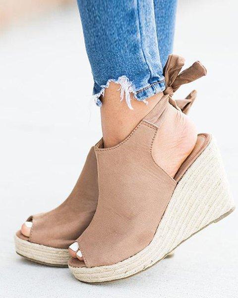 Braided Dress Wedge Heel Summer Espadrille Sandals