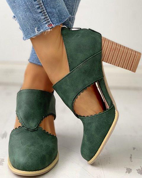 Vintage Hollow Block Heel