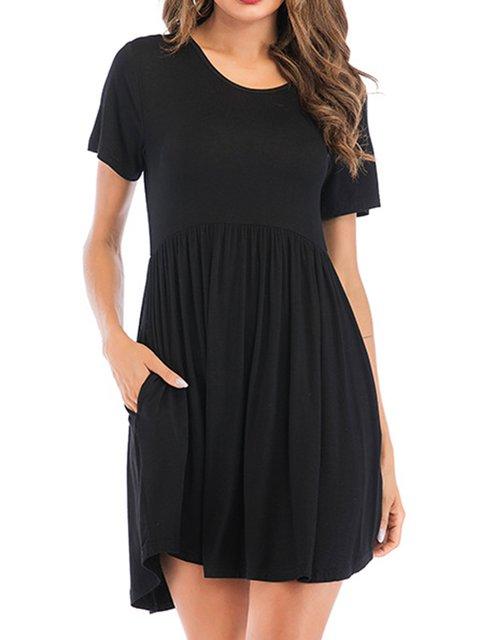 Crew Neck Women Pocket Dresses Dresses