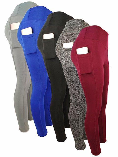 Yoga Pockets Solid Pants Women Sports Crop Pants