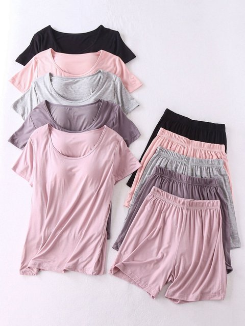 Women Solid Pajamas Short Sleeve Suits