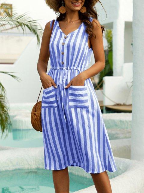 Casual Striped A-Line Sleeveless Dresses