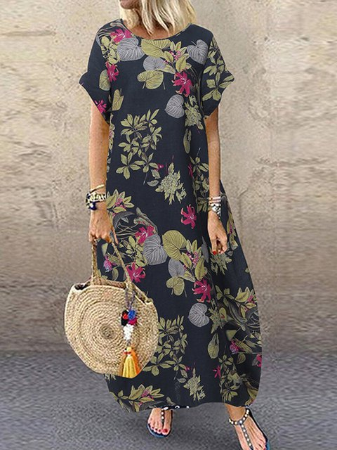 Boho Holiday Cotton Short Sleeve Maxi Dresses